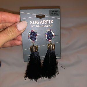 Colorful tassel crystal earrings